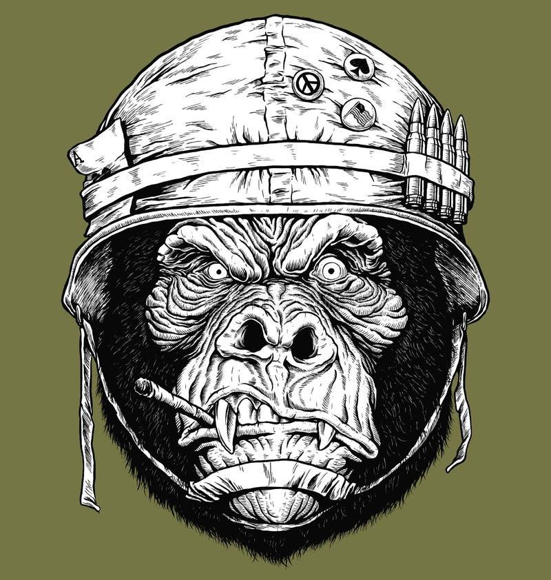 Vector el ejemplo del gorila de 70 ` s/del soldado del mono ilustración del vector