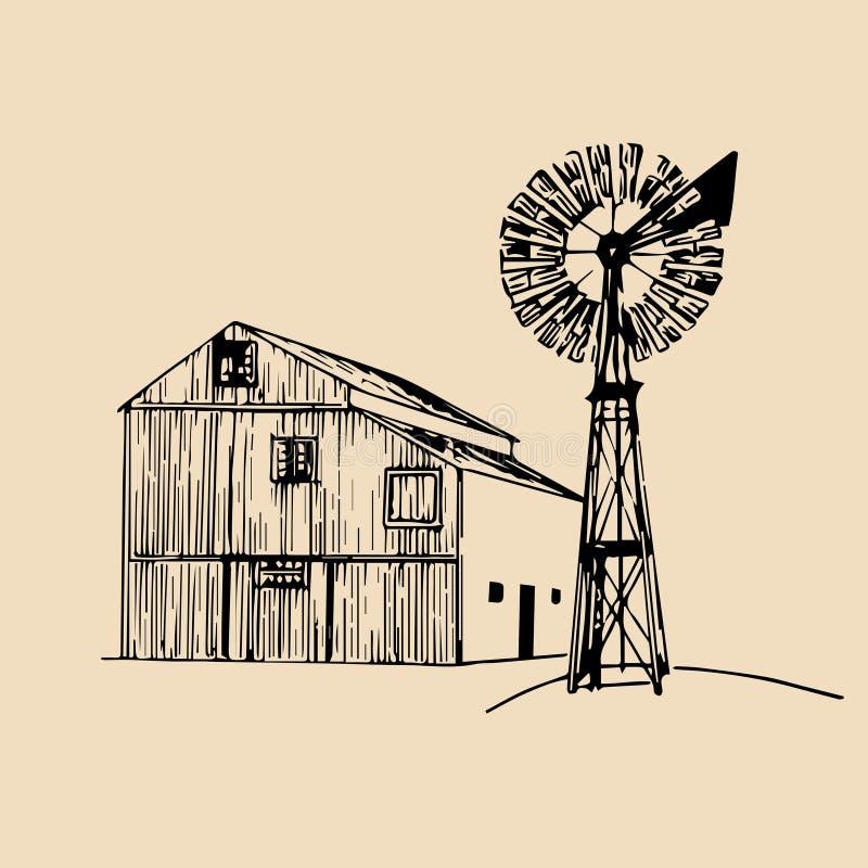 Vector el ejemplo del granero tradicional de la granja con el molino de viento en estilo bosquejado Bio cartel orgánico de los pr stock de ilustración