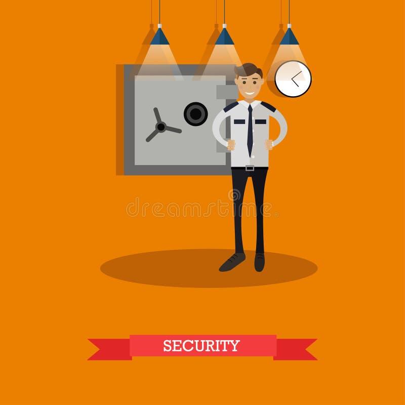 Vector el ejemplo del guardia de seguridad en diseño plano ilustración del vector