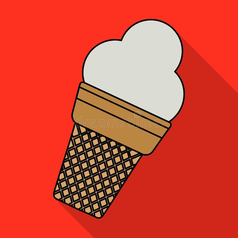 Vector el ejemplo del helado en una taza de la galleta en estilo plano en fondo rojo ilustración del vector