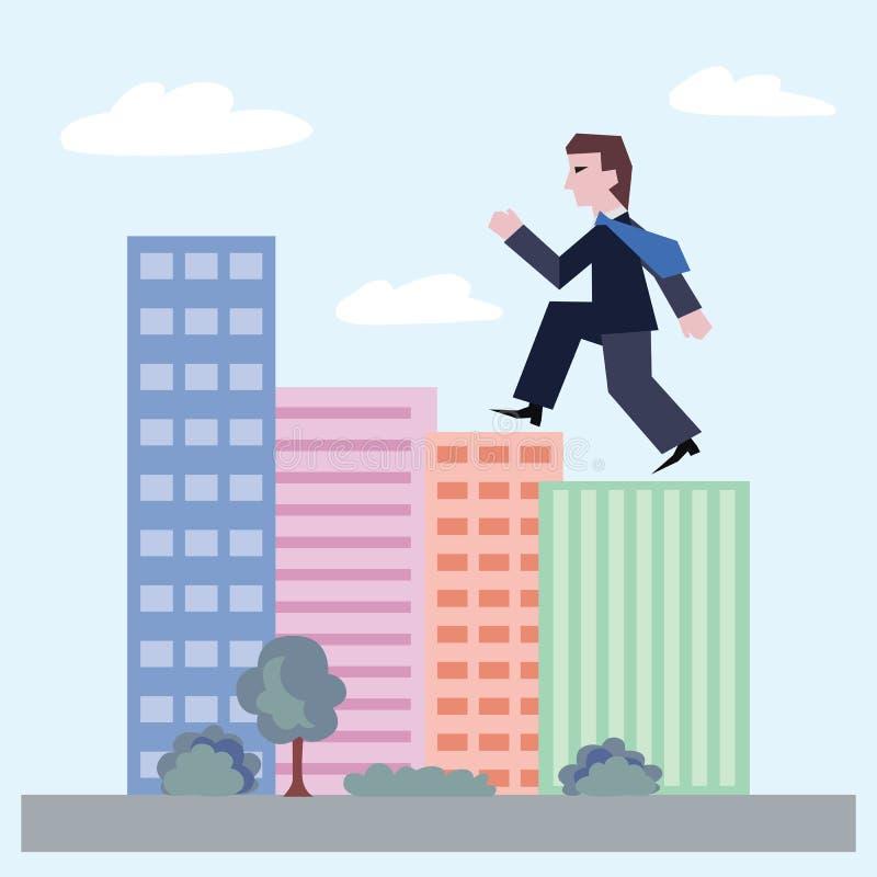 Vector el ejemplo del hombre de negocios que camina encima de las casas libre illustration