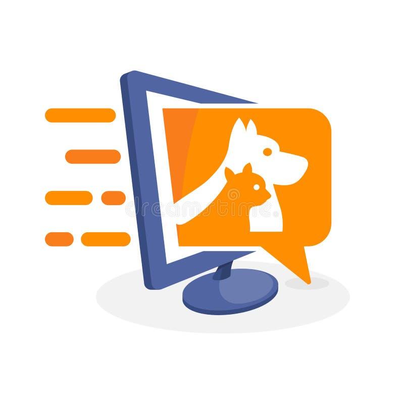 Vector el ejemplo del icono con medios concepto digital sobre la información del animal doméstico libre illustration