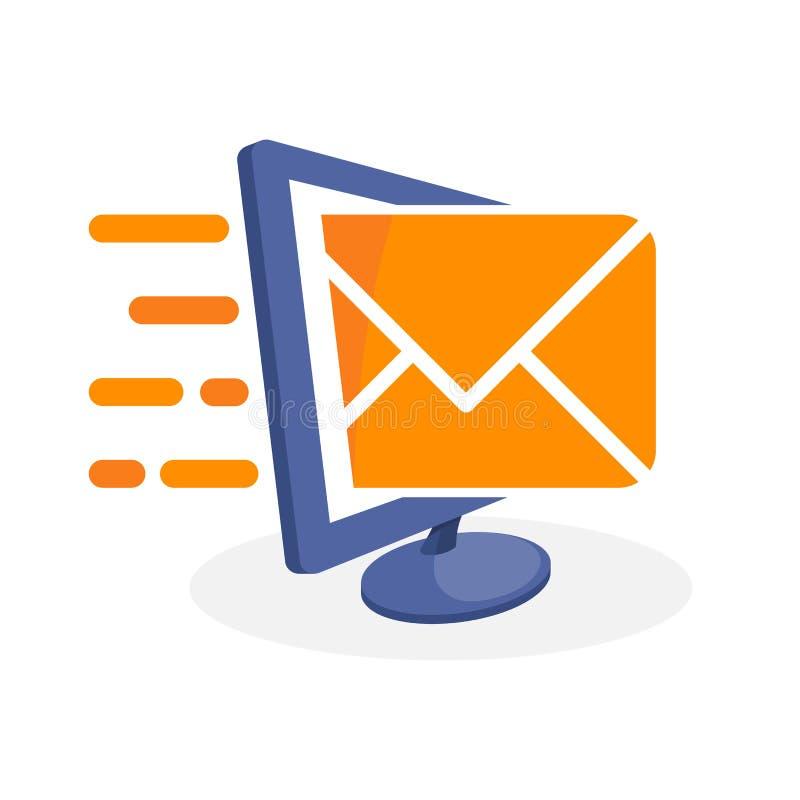 Vector el ejemplo del icono con medios conceptos digitales sobre el envío de los correos electrónicos, enviando mensajes de la no ilustración del vector