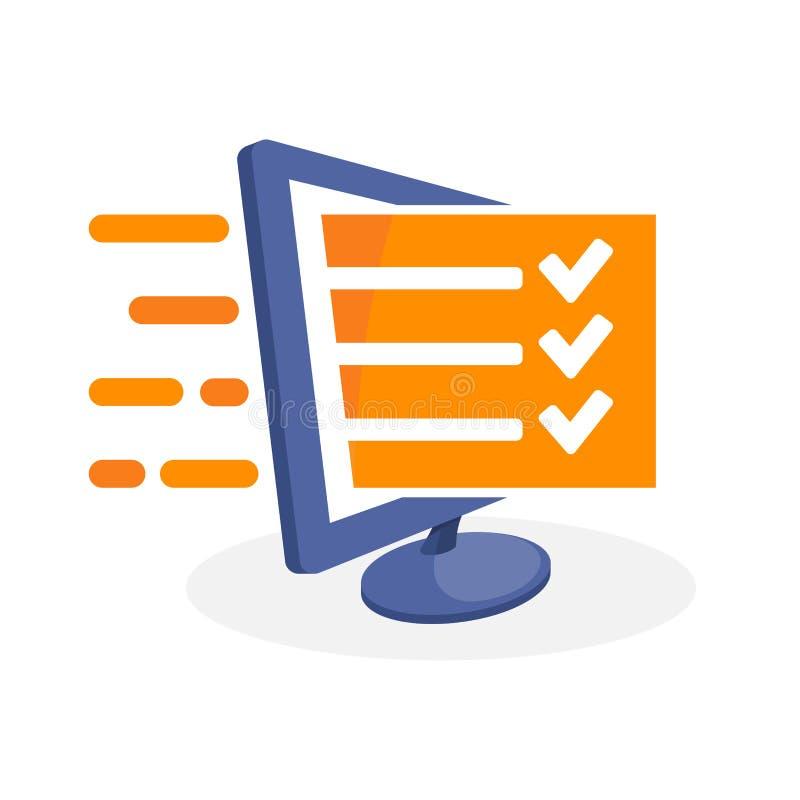 Vector el ejemplo del icono con medios conceptos digitales sobre el examen en línea, evaluación en línea, encuesta en línea ilustración del vector