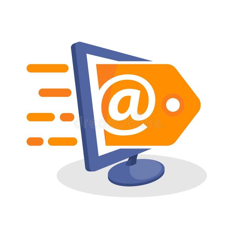 Vector el ejemplo del icono con medios conceptos digitales sobre la promoción en línea del ámbito ilustración del vector