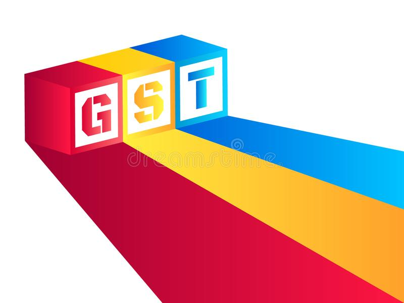 Vector el ejemplo del impuesto de los bienes y servicios o GST con las rayas rosadas, azules y amarillas fotos de archivo