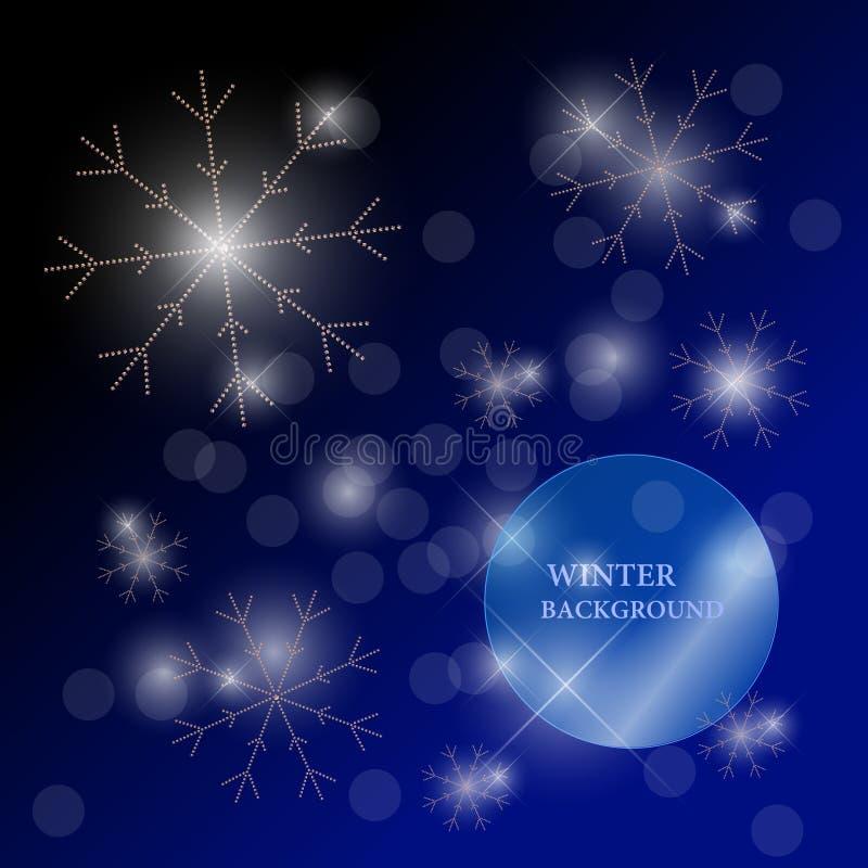 Vector el ejemplo del invierno con los copos de nieve hechos con los diamantes artificiales ilustración del vector