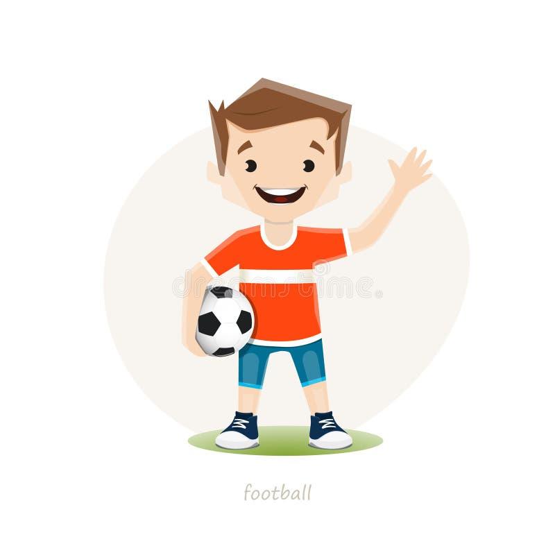 Vector el ejemplo del jugador de fútbol joven isoolated en el fondo blanco stock de ilustración
