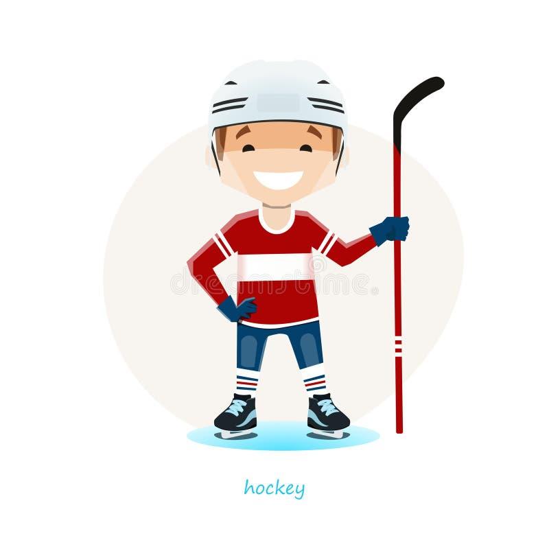 Vector el ejemplo del jugador de hockey joven aislado en el fondo blanco libre illustration