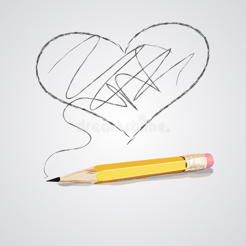 Vector el ejemplo del lápiz y del corazón de madera detallados afilados ilustración del vector