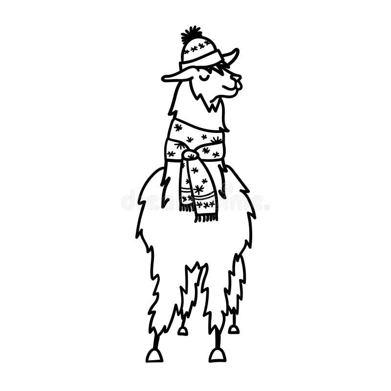 Vector el ejemplo del lama lindo de Suramérica del carácter en sombrero y bufanda del invierno Llama aislada del bebé de la histo libre illustration