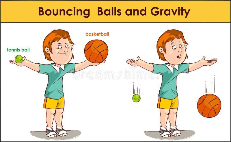 vector el ejemplo del las bolas que despiden y gravedad stock de ilustración