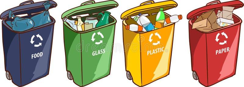 Vector el ejemplo del las papeleras de reciclaje para el vidrio plástico de papel libre illustration