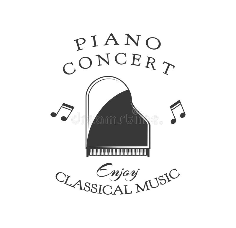 Vector el ejemplo del logotipo para las lecciones o los conciertos de piano Ilustración del vector ilustración del vector