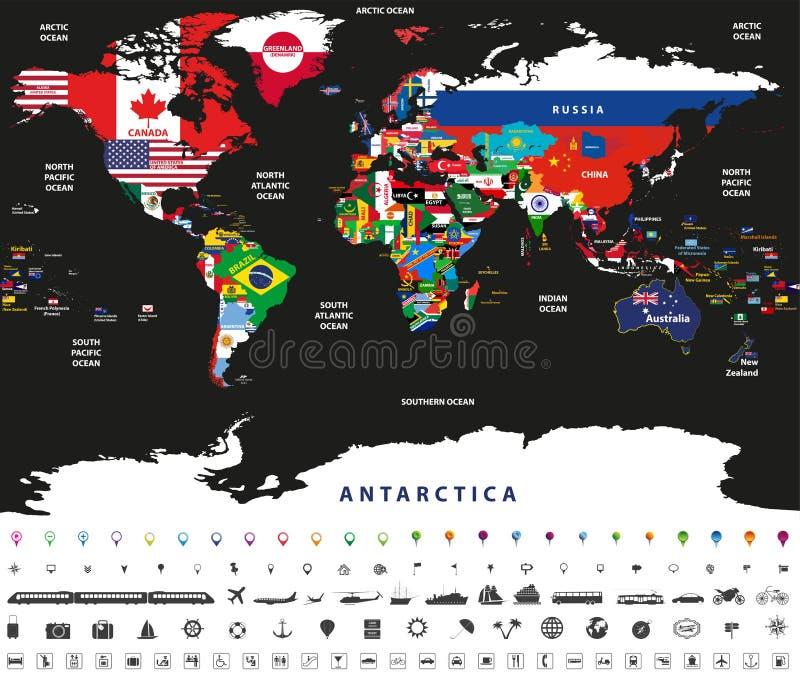 Vector el ejemplo del mapa del mundo articulado con las banderas nacionales con nombres de los países y de los océanos libre illustration