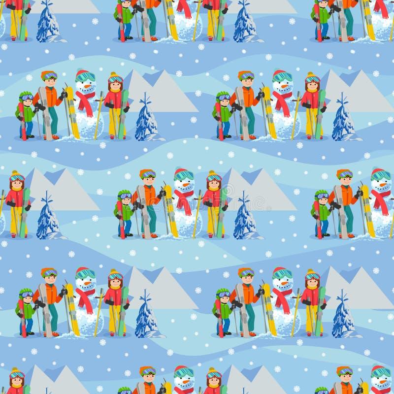 Vector el ejemplo del modelo inconsútil con la familia feliz del paisaje del invierno que juega el muñeco de nieve, esquí, el cam ilustración del vector