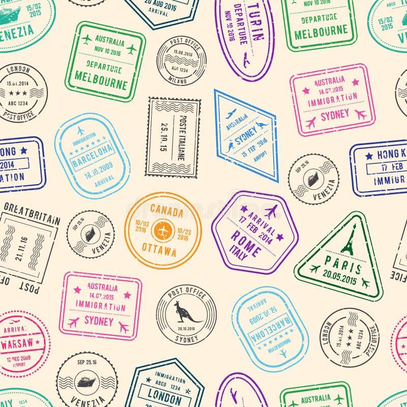 Vector el ejemplo del modelo o del fondo con los sellos de los posts y de la inmigración de los países diferentes stock de ilustración