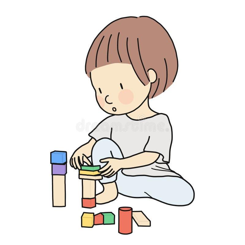 Vector el ejemplo del niño que juega bloques de madera constructivos estacando, montando Actividad del desarrollo en la primera i ilustración del vector