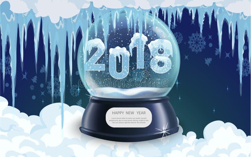 Vector el ejemplo del objeto realista de los chrismas del Año Nuevo de la bola del globo de la nieve libre illustration