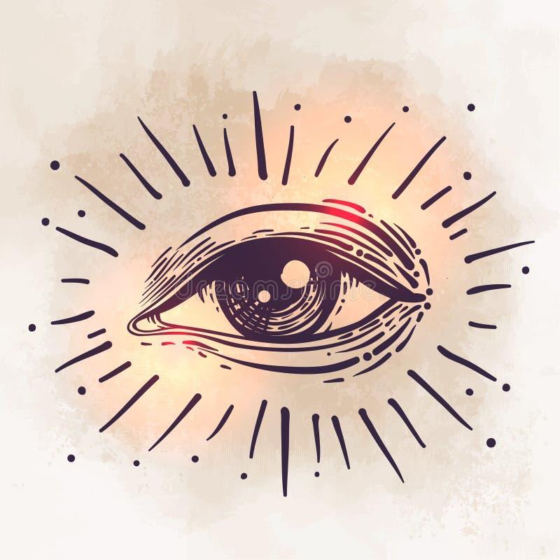 Vector el ejemplo del ojo humano en estilo grabado Gráfico de la mano ilustración del vector