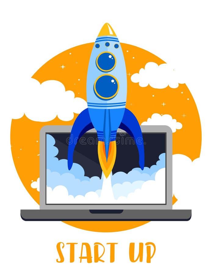 Vector el ejemplo del ordenador portátil con Rocket rápido comienzan para arriba concepto del negocio en estilo plano stock de ilustración