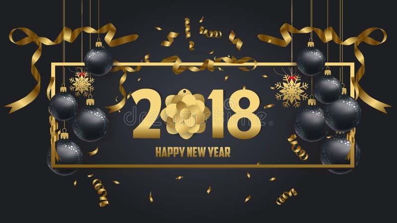 Vector el ejemplo del oro 2018 de la Feliz Año Nuevo y de los colores negros ilustración del vector