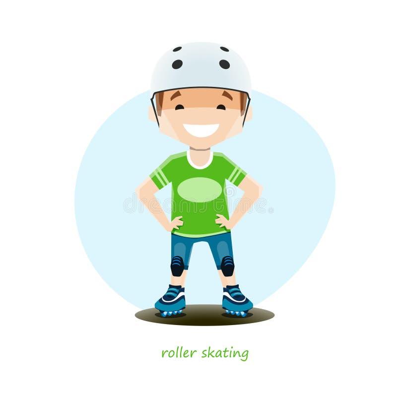Vector el ejemplo del patinador joven del rodillo aislado en el fondo blanco ilustración del vector