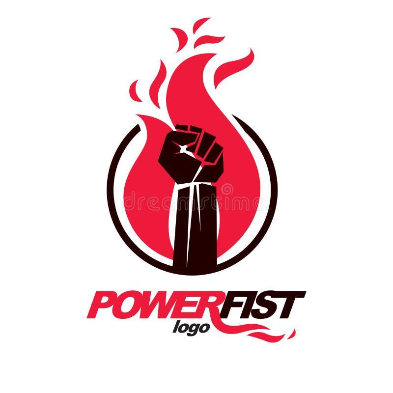 Vector el ejemplo del puño apretado en el fuego ardiente potencia libre illustration