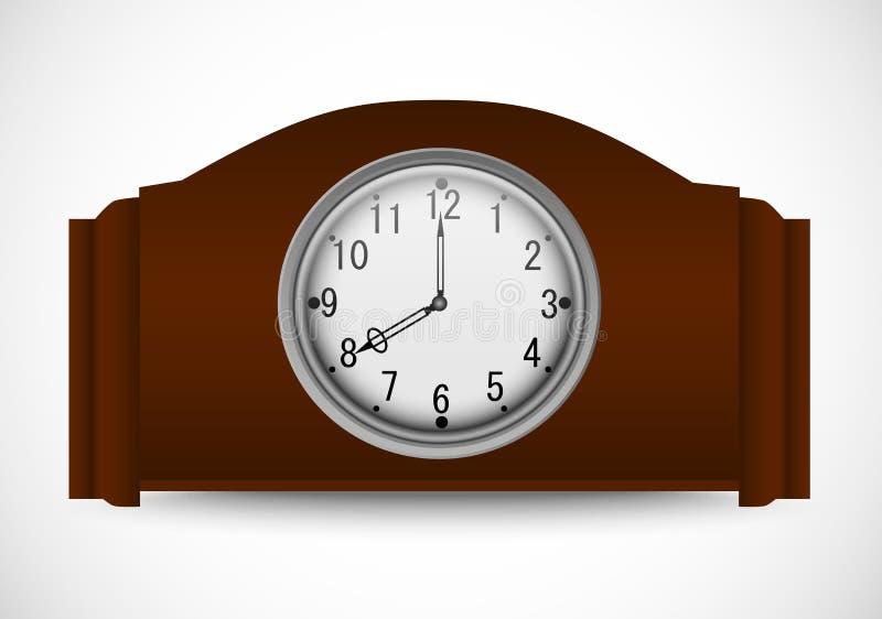 Vector el ejemplo del reloj de madera del vintage en un fondo blanco ilustración del vector