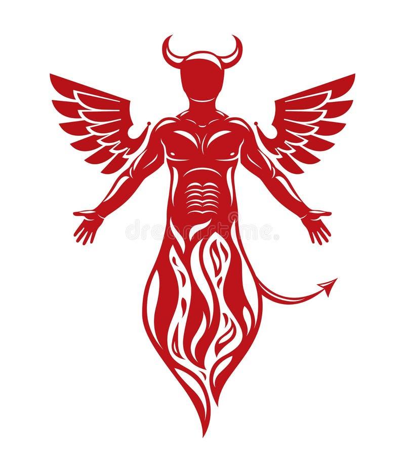 Vector el ejemplo del ser humano, criatura espantosa de cuernos hecha w stock de ilustración