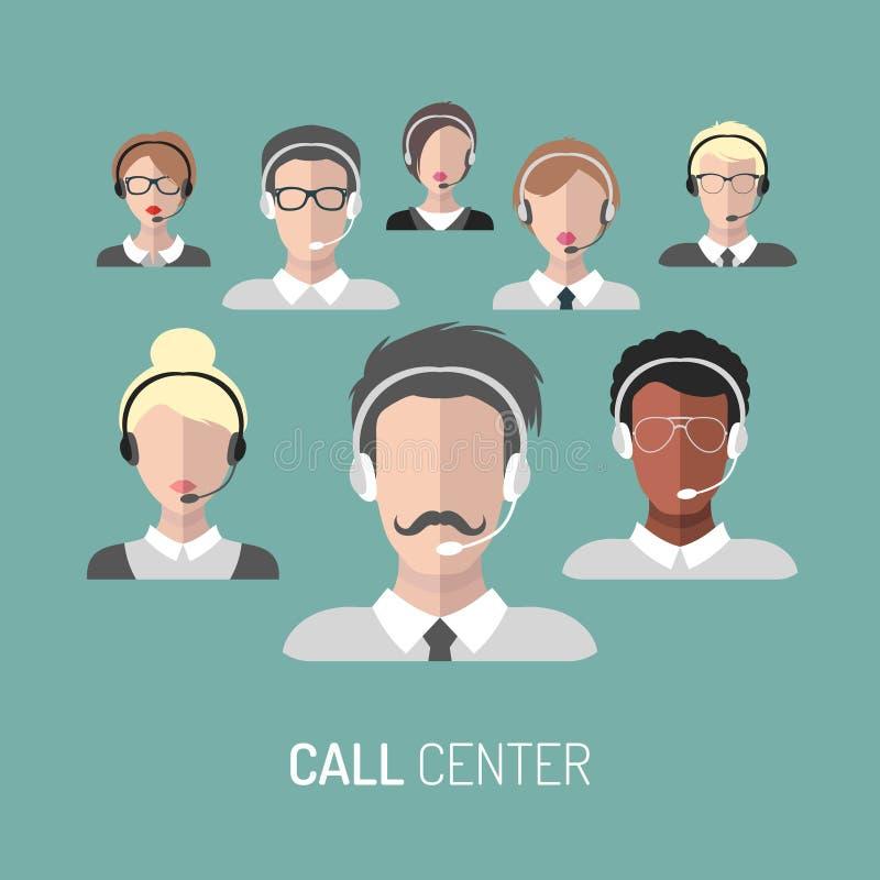 Vector el ejemplo del servicio de atención al cliente, iconos de los operadores de centro de atención telefónica con las auricula stock de ilustración