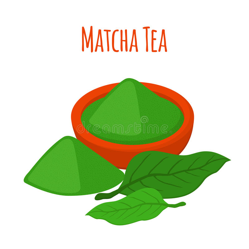 Vector el ejemplo del té del matcha - bebida japaneese Polvo, hojas del té asiático ilustración del vector