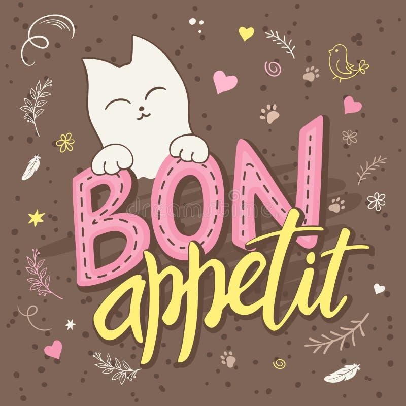Vector el ejemplo del texto de las letras de la mano - appetit del bon Hay gatos mullidos lindos, rodeados con rizado, swirly, la ilustración del vector