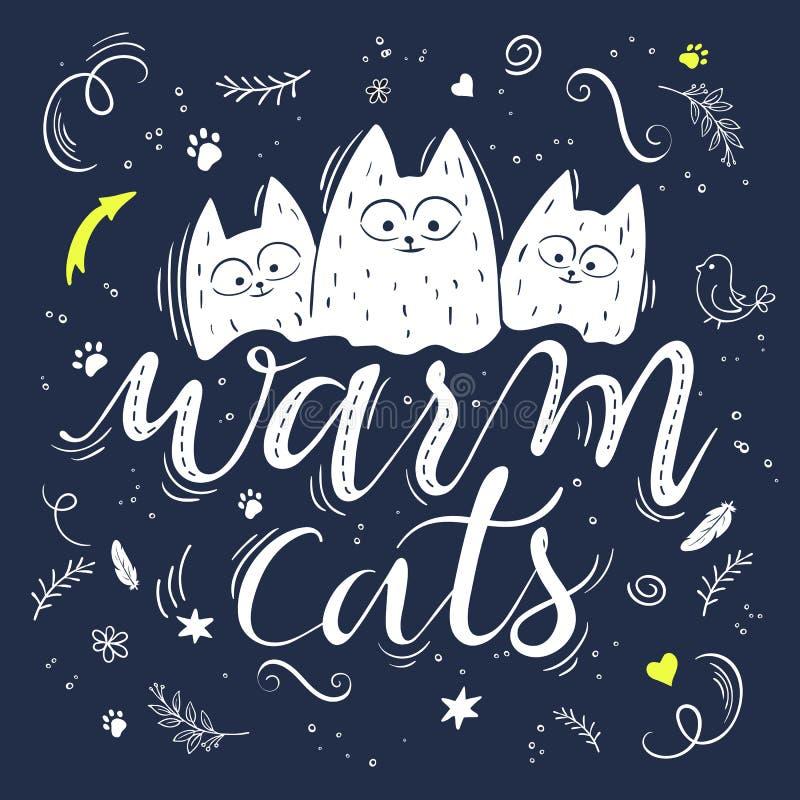 Vector el ejemplo del texto de las letras de la mano - gatos calientes Hay tres gatos mullidos lindos, rodeados con rizado, swirl libre illustration