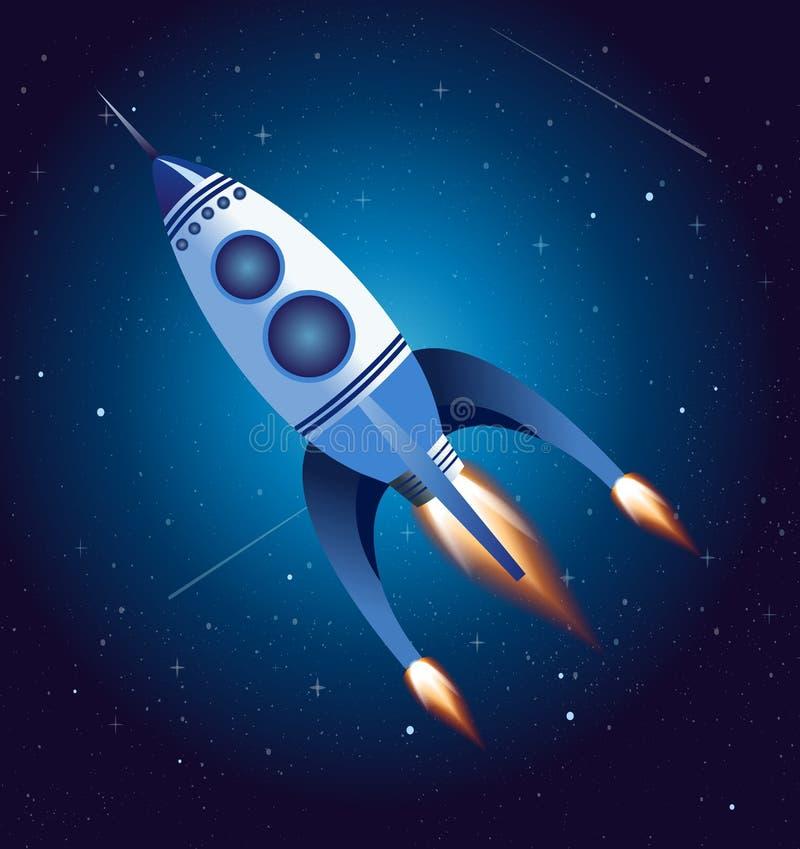 Vector el ejemplo del vuelo del cohete en el cielo, nave espacial en estilo plano de la historieta del oin azul marino del fondo libre illustration