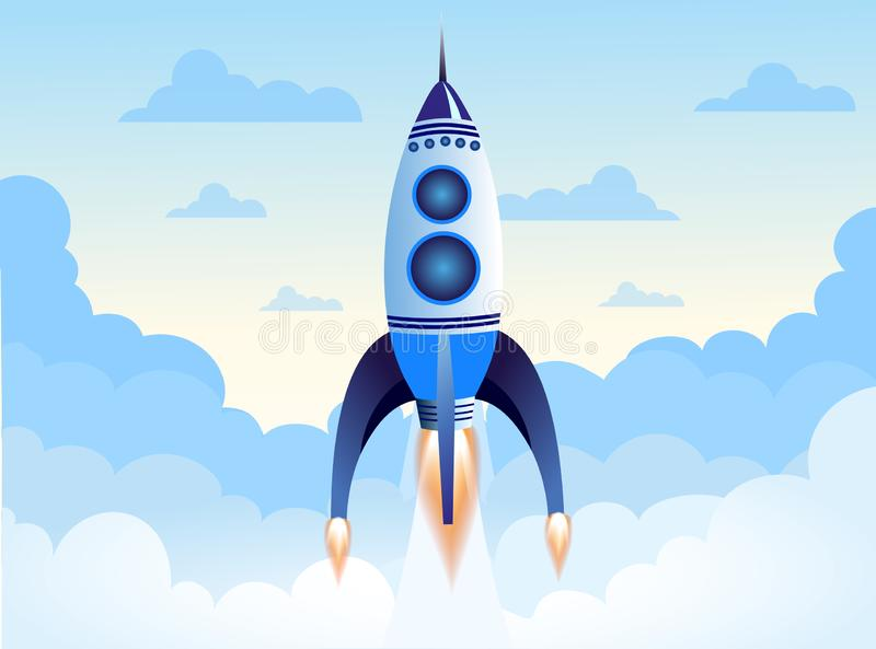 Vector el ejemplo del vuelo del cohete sobre las nubes en el cielo, nave espacial en fondo azul claro en estilo plano de la histo ilustración del vector