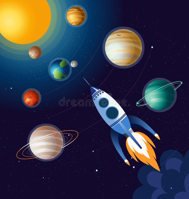 Vector el ejemplo del vuelo del cohete sobre las nubes en espacio y entre los planetas, nave espacial en fondo azul marino adentr ilustración del vector