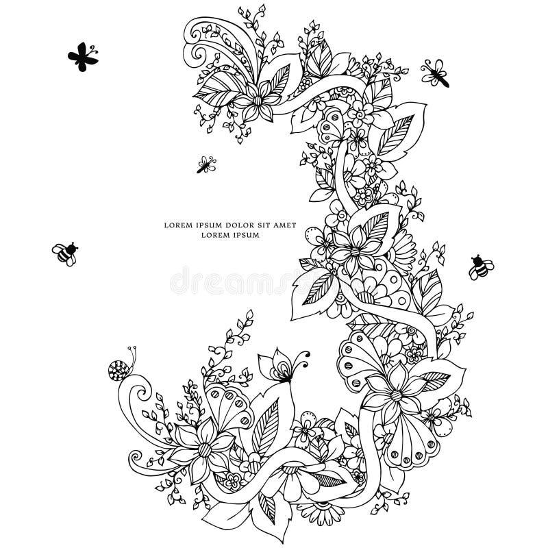 Vector el ejemplo del zentangle floral del marco, garabateando Zenart, garabato, flores, mariposas, delicado, hermosas stock de ilustración