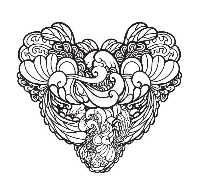 Vector El Ejemplo Dibujado Mano Adornado Del Corazón, Tatuaje Puede ...