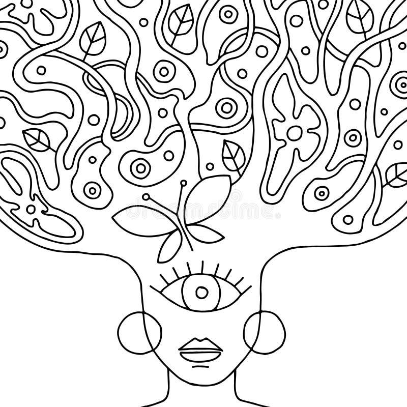 Vector el ejemplo dibujado mano blanco y negro de la cara psicodélica de la mujer con el árbol abstracto, flores, hojas, puntos,  stock de ilustración