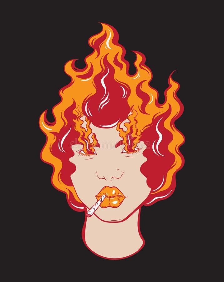 Vector el ejemplo dibujado mano colorida de la muchacha con el fuego y el cigarrillo libre illustration