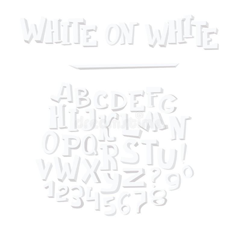 Vector el ejemplo dibujado mano con el grupo de letras blancas del alfabeto, aislado en el fondo blanco Secuencia del ABC de A a  stock de ilustración
