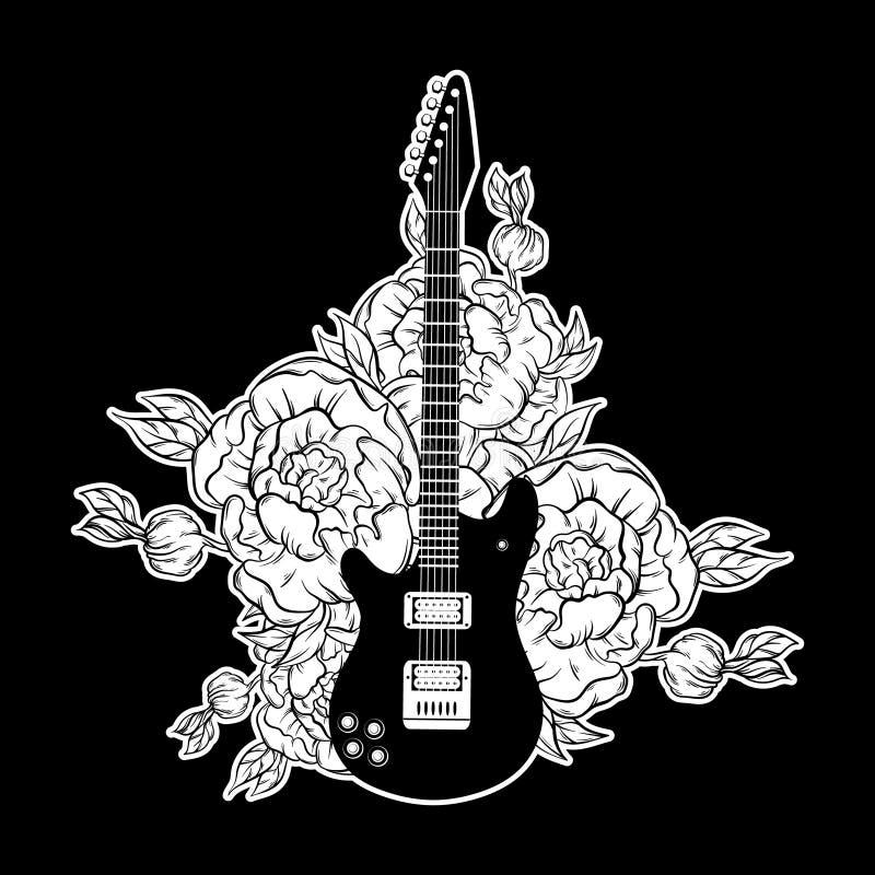 Vector el ejemplo dibujado mano de la guitarra y de flores stock de ilustración