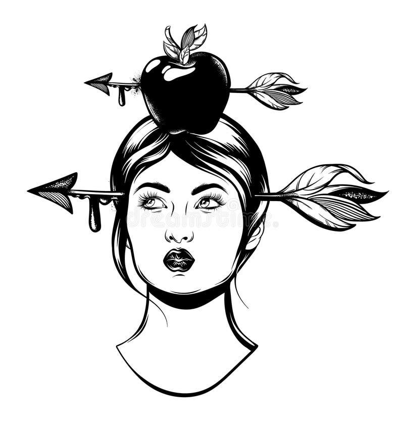 Vector el ejemplo dibujado mano de la mujer con la flecha en su cabeza aislada stock de ilustración
