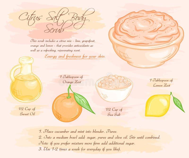 Vector el ejemplo dibujado mano de la receta del exfoliante corporal de la sal de la fruta cítrica de la energía libre illustration