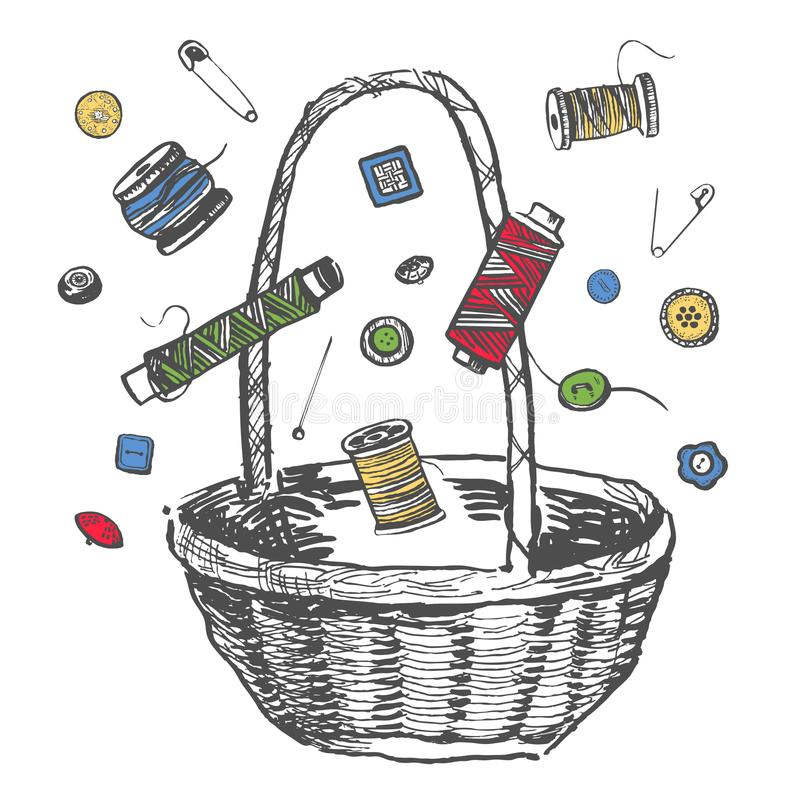 Vector el ejemplo dibujado mano de la tinta del esquema con el carrete de hilos coloridos, de la cesta de madera, de botones y de stock de ilustración