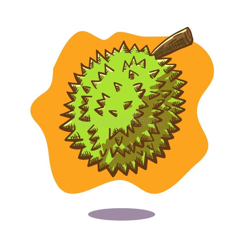 Vector el ejemplo dibujado mano de una fruta flotante del durian en fondo anaranjado libre illustration