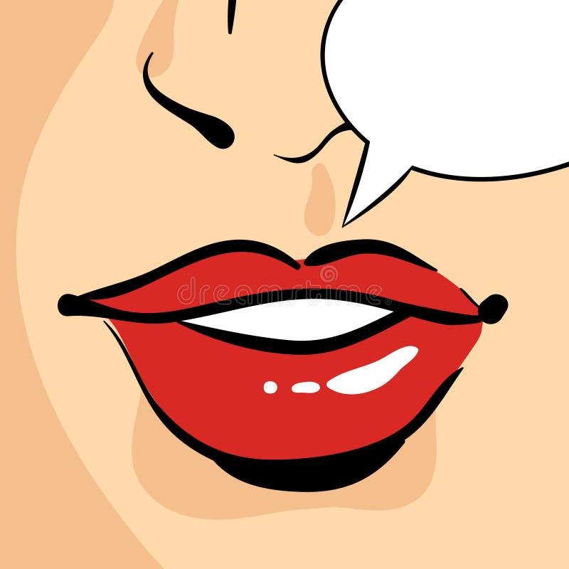 Vector el ejemplo dibujado mano del arte pop de los labios rojos hermosos de la mujer ilustración del vector