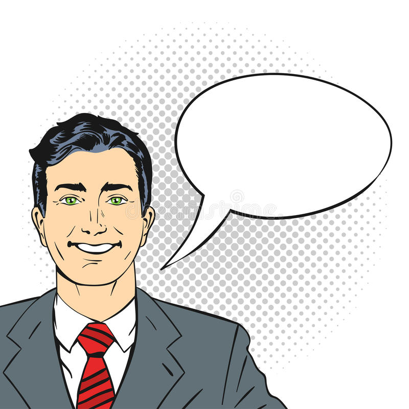 Vector el ejemplo dibujado mano del arte pop del hombre de negocios sonriente feliz stock de ilustración