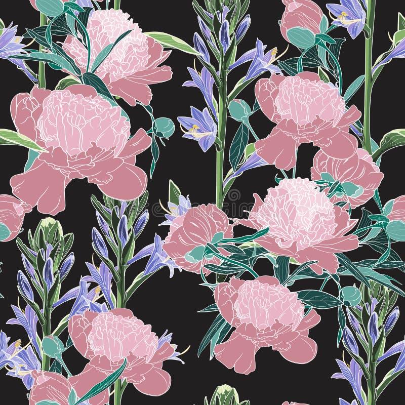 Vector el ejemplo dibujado mano del bosquejo del modelo inconsútil rosado de las flores de la peonía y de la violeta libre illustration